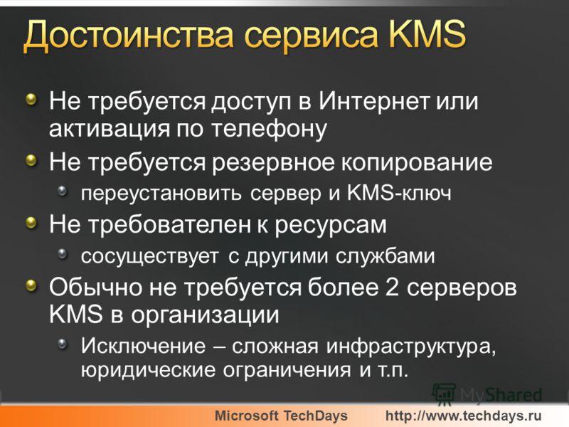 Microsoft TechDayshttp://www.techdays.ru Не требуется доступ в Интернет или активация по телефону Не требуется резервное копирование переустановить сервер и KMS-ключ Не требователен к ресурсам сосуществует с другими службами Обычно не требуется более