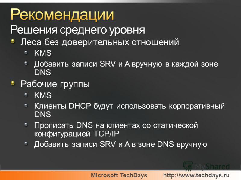 Microsoft TechDayshttp://www.techdays.ru Леса без доверительных отношений KMS Добавить записи SRV и A вручную в каждой зоне DNS Рабочие группы KMS Клиенты DHCP будут использовать корпоративный DNS Прописать DNS на клиентах со статической конфигурацие