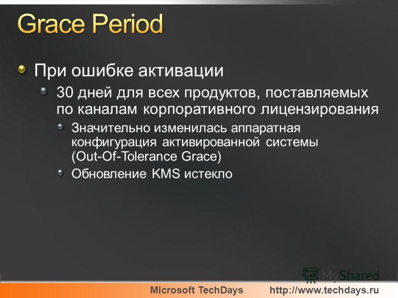 Microsoft TechDayshttp://www.techdays.ru При ошибке активации 30 дней для всех продуктов, поставляемых по каналам корпоративного лицензирования Значительно изменилась аппаратная конфигурация активированной системы (Out-Of-Tolerance Grace) Обновление