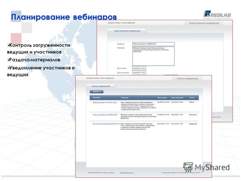 Планирование вебинаров Контроль загруженности ведущих и участников Раздача материалов Уведомление участников и ведущих
