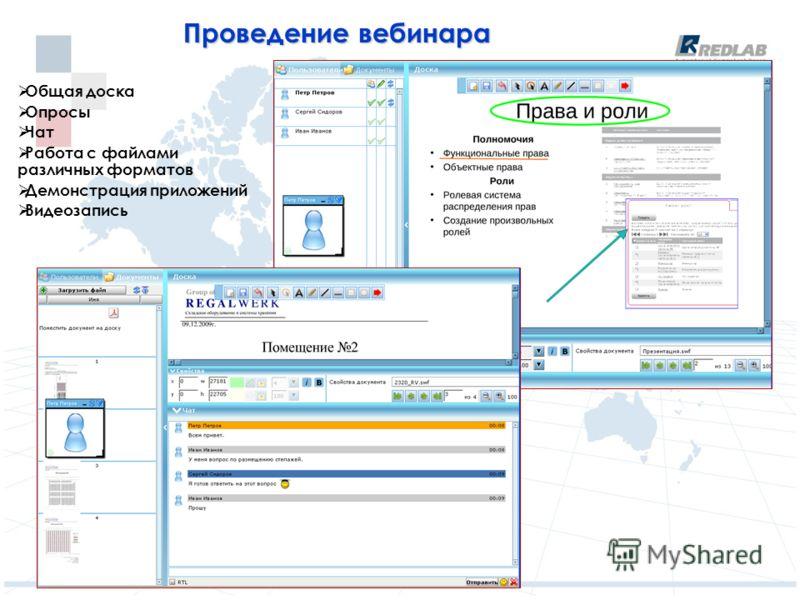 Проведение вебинара Общая доска Опросы Чат Работа с файлами различных форматов Демонстрация приложений Видеозапись
