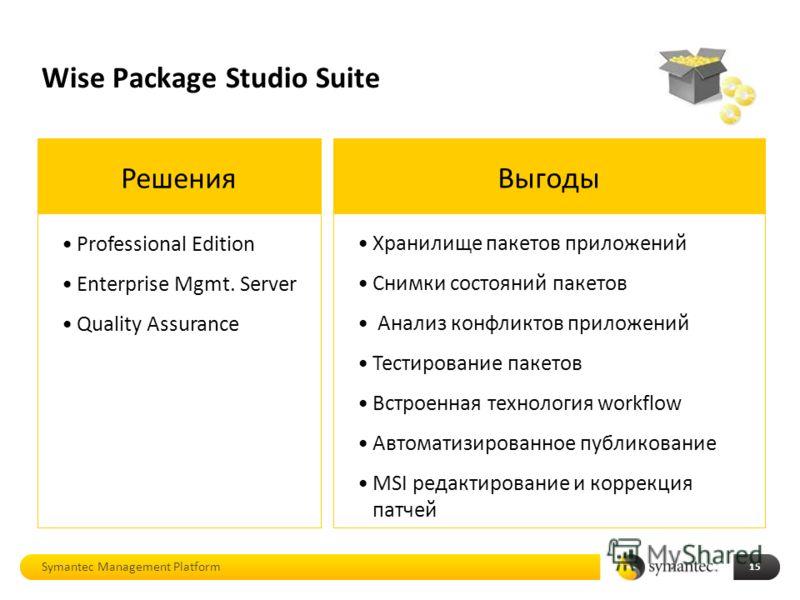 Wise Package Studio Suite 15 Решения Professional Edition Enterprise Mgmt. Server Quality Assurance Symantec Management Platform Выгоды Хранилище пакетов приложений Снимки состояний пакетов Анализ конфликтов приложений Тестирование пакетов Встроенная