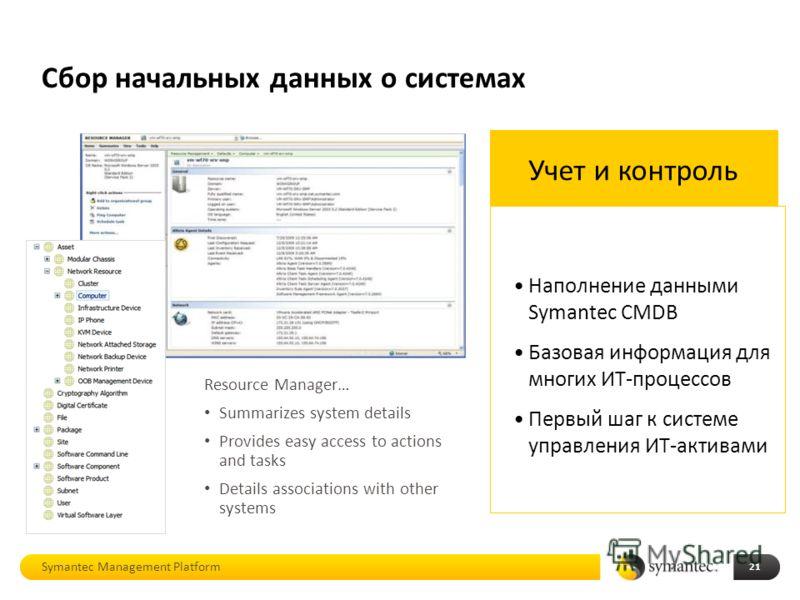 Сбор начальных данных о системах Symantec Management Platform 21 Учет и контроль Наполнение данными Symantec CMDB Базовая информация для многих ИТ-процессов Первый шаг к системе управления ИТ-активами Resource Manager… Summarizes system details Provi