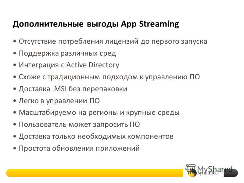 Дополнительные выгоды App Streaming Отсутствие потребления лицензий до первого запуска Поддержка различных сред Интеграция с Active Directory Схоже с традиционным подходом к управлению ПО Доставка.MSI без перепаковки Легко в управлении ПО Масштабируе