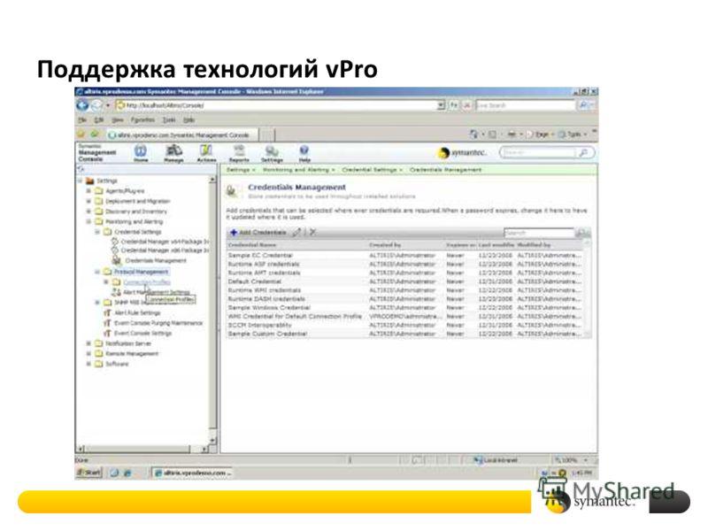 Поддержка технологий vPro