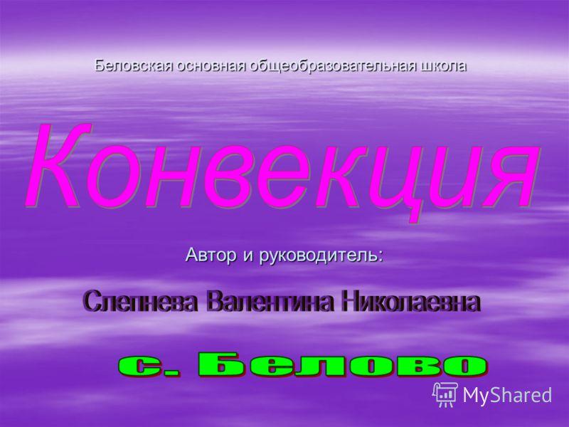 Автор и руководитель: Беловская основная общеобразовательная школа