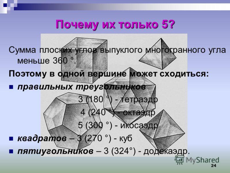24 Почему их только 5? Сумма плоских углов выпуклого многогранного угла меньше 360 °. Поэтому в одной вершине может сходиться: правильных треугольников 3 (180 °) - тетраэдр 4 (240 °) - октаэдр 5 (300 °) - икосаэдр квадратов – 3 (270 °) - куб пятиугол