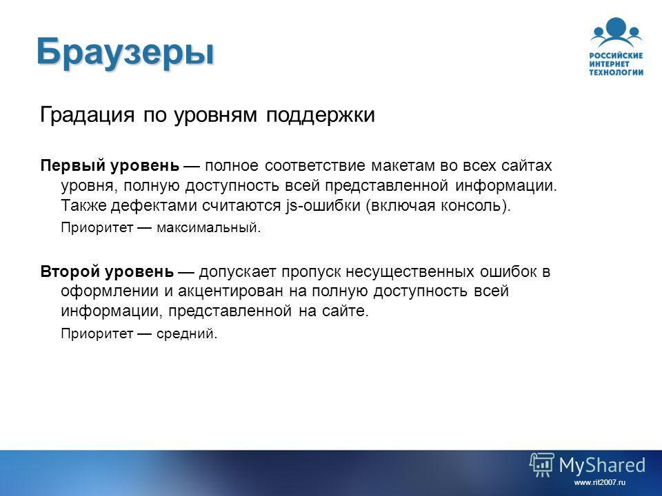 www.rit2007. ru Браузеры Градация по уровням поддержки Первый уровень полное соответствие макетам во всех сайтах уровня, полную доступность всей представленной информации. Также дефектами считаются js-ошибки (включая консоль). Приоритет максимальный.