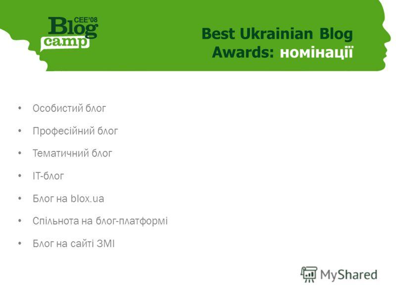 Best Ukrainian Blog Awards: номінації Особистий блог Професійний блог Тематичний блог ІТ-блог Блог на blox.ua Спільнота на блог-платформі Блог на сайті ЗМІ