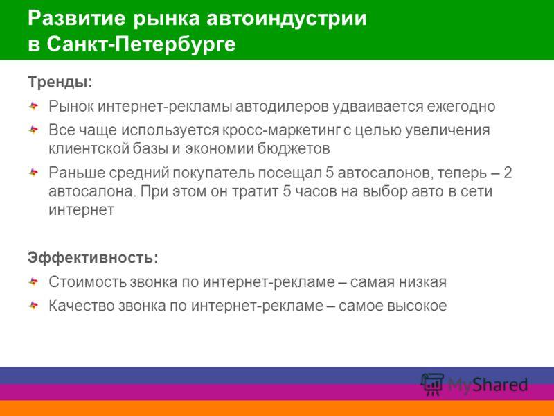 Развитие рынка автоиндустрии в Санкт-Петербурге Тренды: Рынок интернет-рекламы автодилеров удваивается ежегодно Все чаще используется кросс-маркетинг с целью увеличения клиентской базы и экономии бюджетов Раньше средний покупатель посещал 5 автосалон