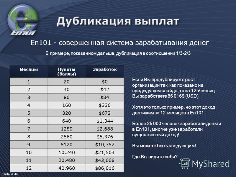 En101 - совершенная система зарабатывания денег В примере, показанном дальше, дубликация в соотношении 1/3-2/3 Если Вы продублируете рост организации так, как показано на предыдущем слайде, то за 12-й месяц Вы заработаете 86 016$ (USD). Хотя это толь