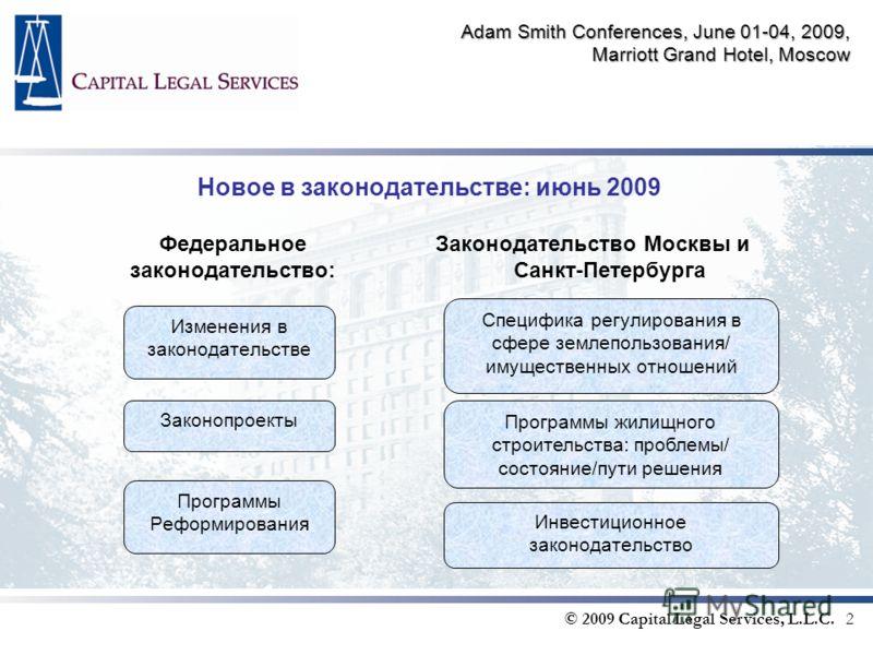 Adam Smith Conferences, June 01-04, 2009, Marriott Grand Hotel, Moscow Новое в законодательстве: июнь 2009 Федеральное законодательство: © 2009 Capital Legal Services, L.L.C. 2 Законодательство Москвы и Санкт-Петербурга Изменения в законодательстве З