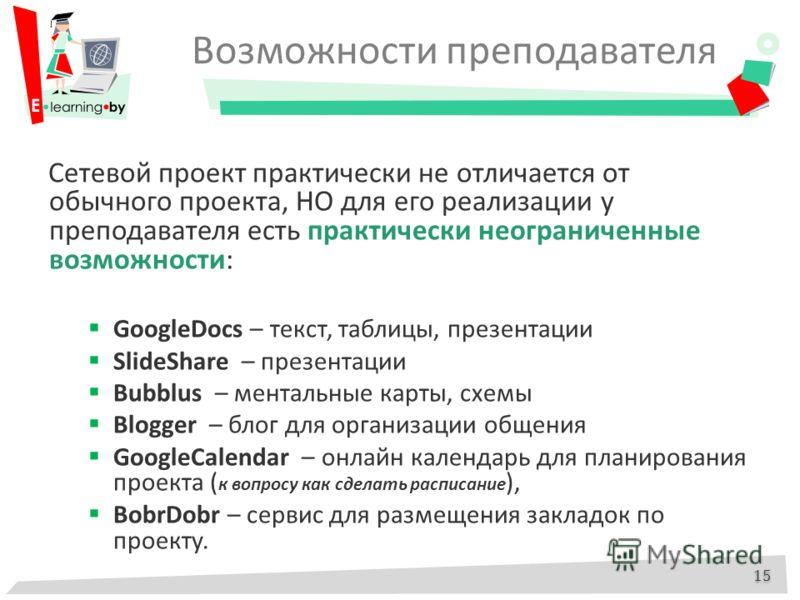 Возможности преподавателя Cетевой проект практически не отличается от обычного проекта, НО для его реализации у преподавателя есть практически неограниченные возможности: GoogleDocs – текст, таблицы, презентации SlideShare – презентации Bubblus – мен