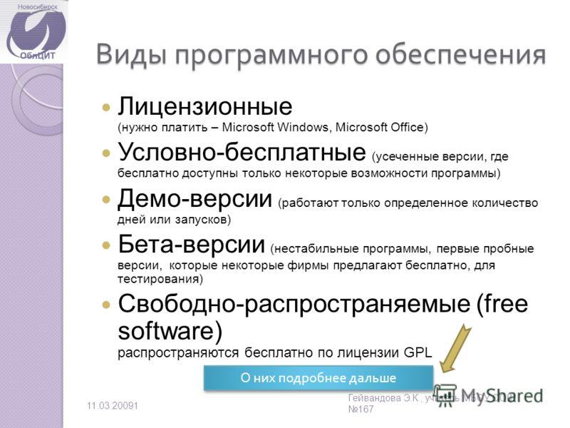 Виды программного обеспечения Лицензионные (нужно платить – Microsoft Windows, Microsoft Office) Условно-бесплатные (усеченные версии, где бесплатно доступны только некоторые возможности программы) Демо-версии (работают только определенное количество