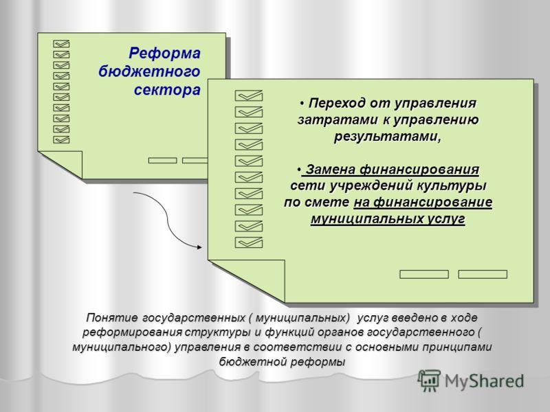 Реформа бюджетного сектора Переход от управления затратами к управлению результатами, Переход от управления затратами к управлению результатами, Замена финансирования сети учреждений культуры по смете на финансирование муниципальных услуг Замена фина