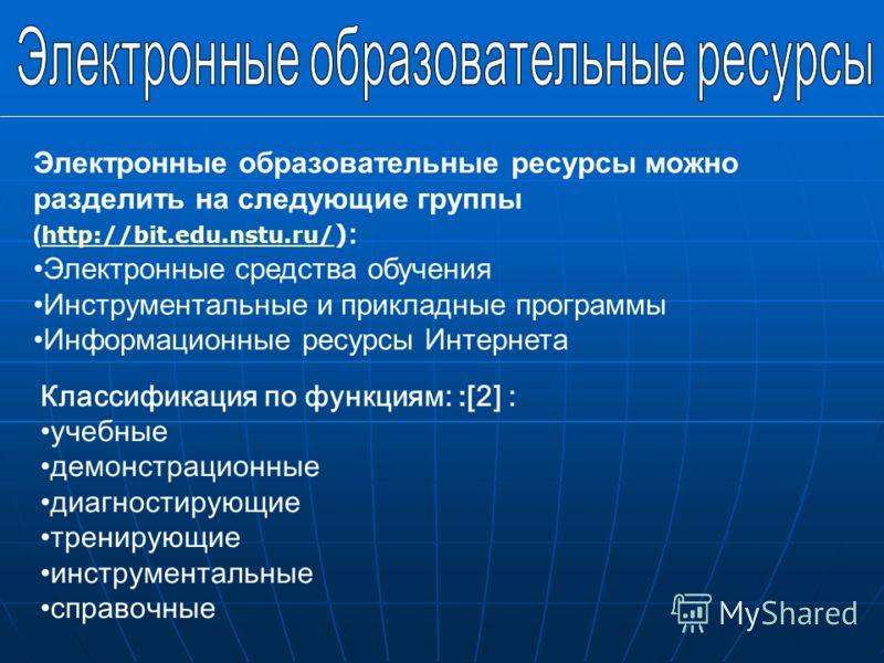 Электронные образовательные ресурсы можно разделить на следующие группы ( http://bit.edu.nstu.ru/ ) : http://bit.edu.nstu.ru/ Электронные средства обучения Инструментальные и прикладные программы Информационные ресурсы Интернета Классификация по функ