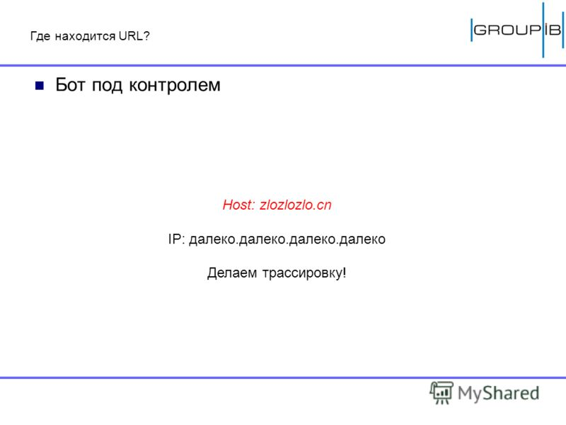 Где находится URL? Бот под контролем Host: zlozlozlo.cn IP: далеко.далеко.далеко.далеко Делаем трассировку!