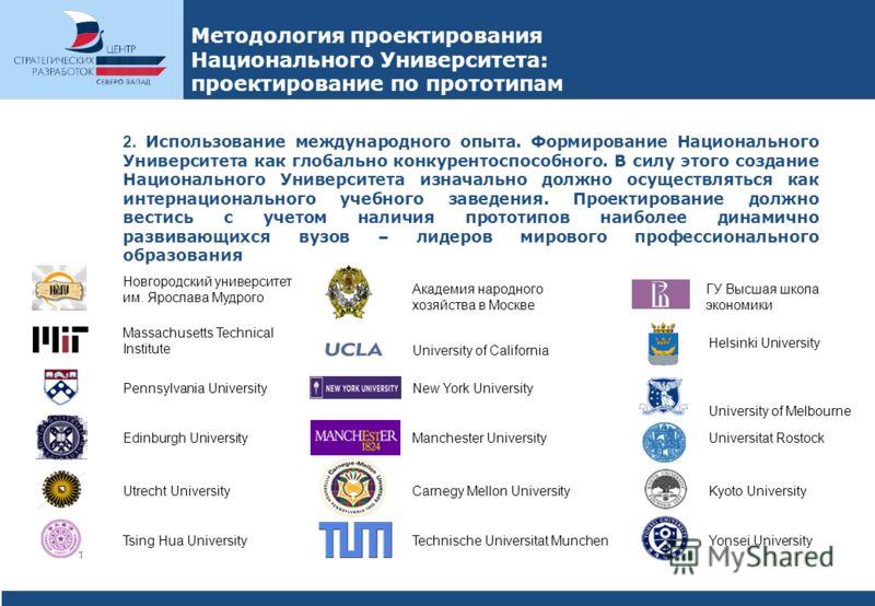 Методология проектирования Национального Университета: проектирование по прототипам 2. Использование международного опыта. Формирование Национального Университета как глобально конкурентоспособного. В силу этого создание Национального Университета из