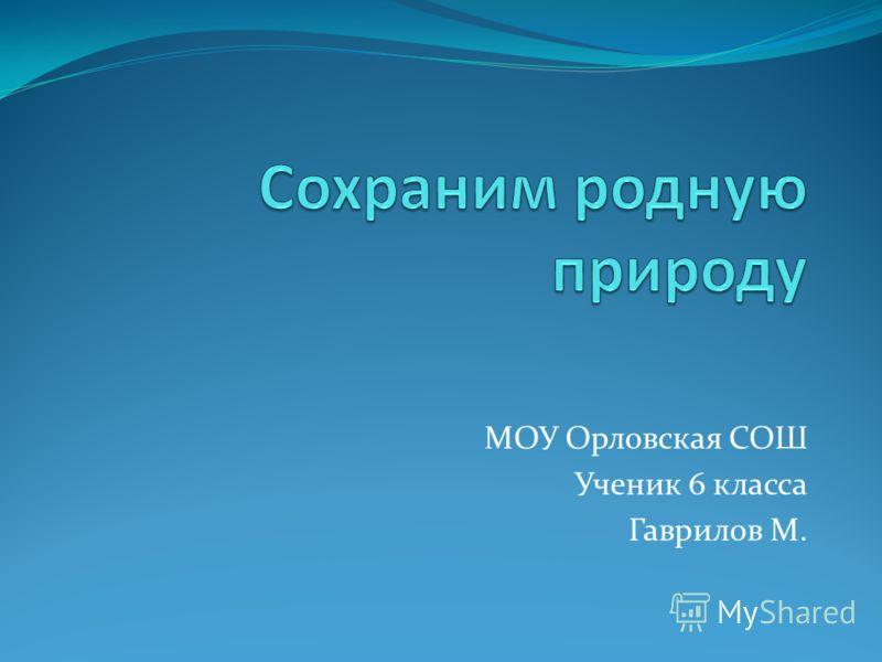 МОУ Орловская СОШ Ученик 6 класса Гаврилов М.