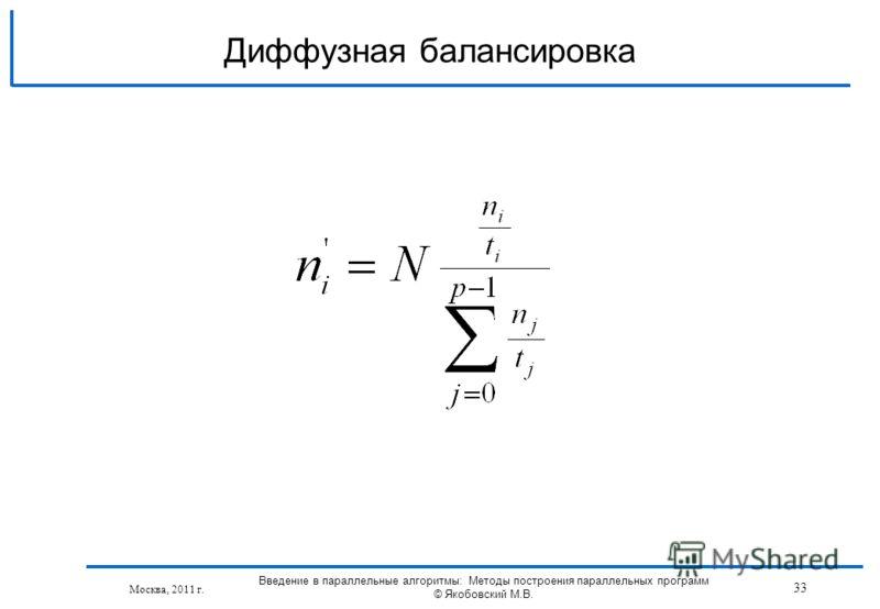 Москва, 2011 г. 33 Введение в параллельные алгоритмы: Методы построения параллельных программ © Якобовский М.В. Диффузная балансировка