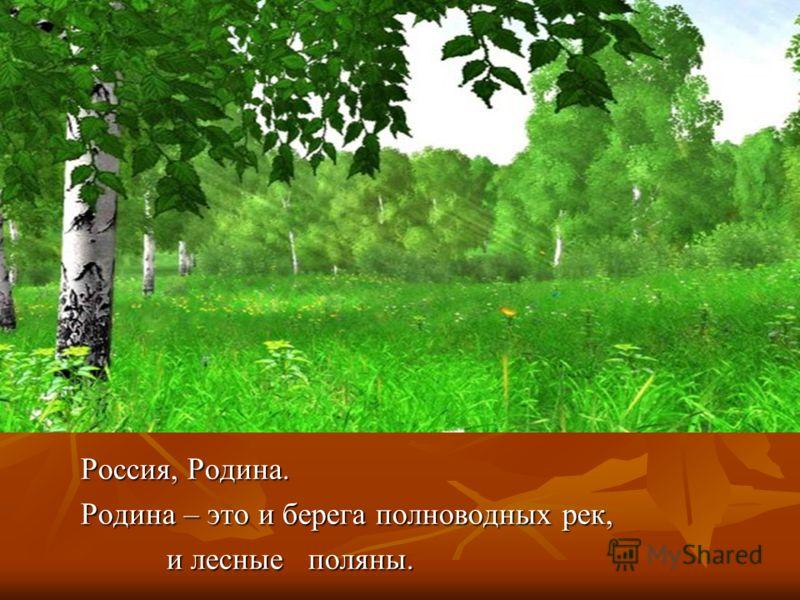 Россия, Родина. Родина – это и берега полноводных рек, и лесные поляны. и лесные поляны.