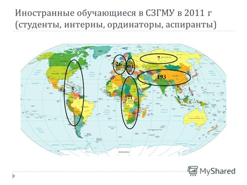 Иностранные обучающиеся в СЗГМУ в 2011 г ( студенты, интерны, ординаторы, аспиранты )
