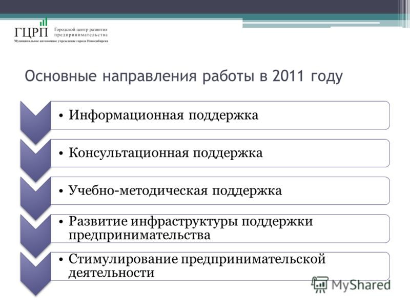 Основные направления работы в 2011 году Информационная поддержкаКонсультационная поддержкаУчебно-методическая поддержка Развитие инфраструктуры поддержки предпринимательства Стимулирование предпринимательской деятельности