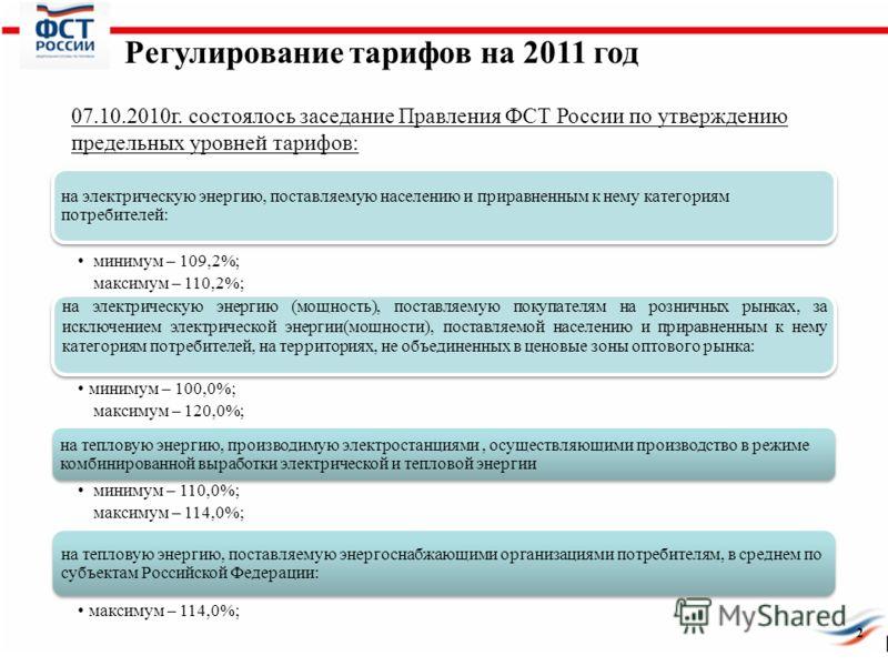 Регулирование тарифов на 2011 год 07.10.2010г. состоялось заседание Правления ФСТ России по утверждению предельных уровней тарифов: 2 на электрическую энергию, поставляемую населению и приравненным к нему категориям потребителей: минимум – 109,2%; ма