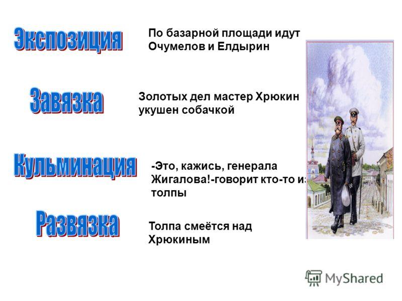 По базарной площади идут Очумелов и Елдырин Золотых дел мастер Хрюкин укушен собачкой -Это, кажись, генерала Жигалова!-говорит кто-то из толпы Толпа смеётся над Хрюкиным