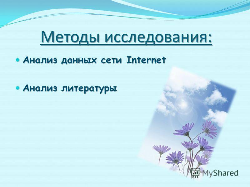 Методы исследования: Анализ данных сети Internet Анализ данных сети Internet Анализ литературы Анализ литературы