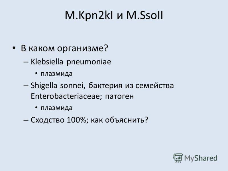 M.Kpn2kI и M.SsoII В каком организме? – Klebsiella pneumoniae плазмида – Shigella sonnei, бактерия из семейства Enterobacteriaceae; патоген плазмида – Сходство 100%; как объяснить?