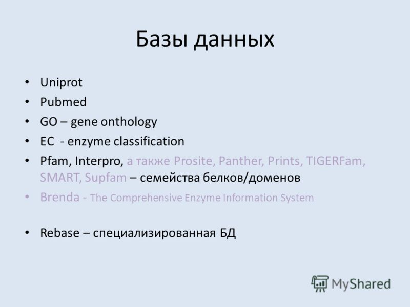 Базы данных Uniprot Pubmed GO – gene onthology EC - enzyme classification Pfam, Interpro, а также Prosite, Panther, Prints, TIGERFam, SMART, Supfam – семейства белков/доменов Brenda - The Comprehensive Enzyme Information System Rebase – специализиров