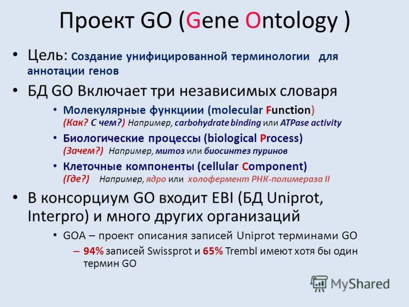 Проект GO (Gene Ontology ) Цель: Создание унифицированной терминологии для аннотации генов БД GO Включает три независимых словаря Молекулярные функциии (molecular Function) (Как? С чем?) Например, carbohydrate binding или ATPase activity Биологически
