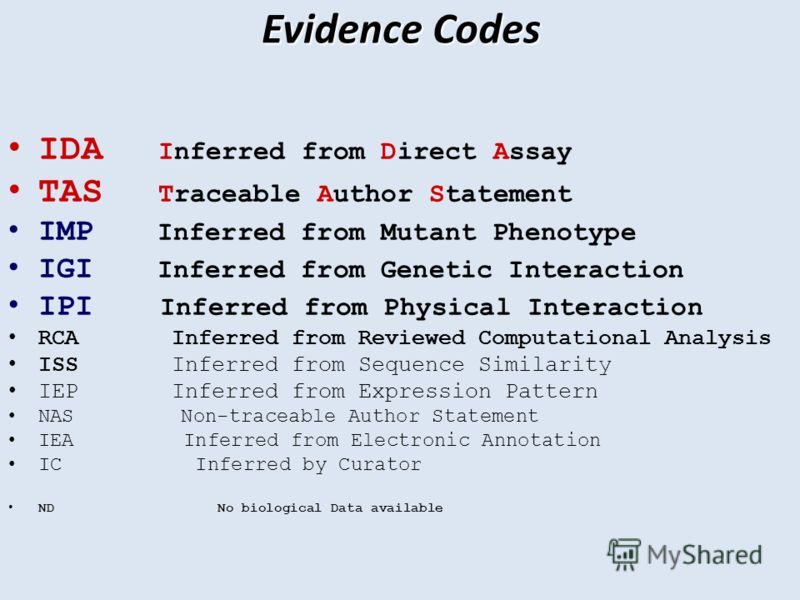 Evidence Codes IDA Inferred from Direct Assay TAS Traceable Author Statement IMP Inferred from Mutant Phenotype IGI Inferred from Genetic Interaction IPI Inferred from Physical Interaction RCA Inferred from Reviewed Computational Analysis ISS Inferre