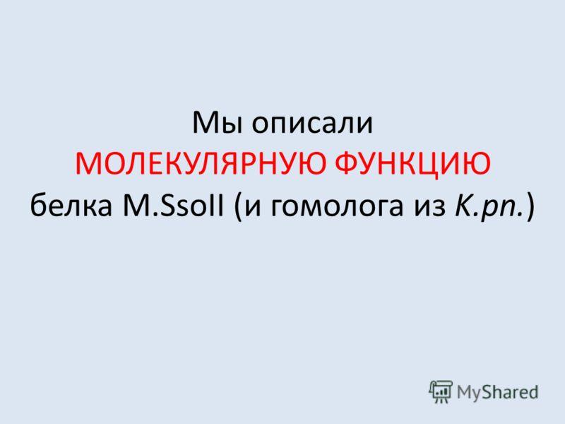 Мы описали МОЛЕКУЛЯРНУЮ ФУНКЦИЮ белка M.SsoII (и гомолога из K.pn.)