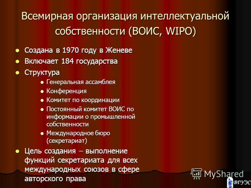 Всемирная организация интеллектуальной собственности (ВОИС, WIPO) Создана в 1970 году в Женеве Создана в 1970 году в Женеве Включает 184 государства Включает 184 государства Структура Структура Генеральная ассамблея Генеральная ассамблея Конференция