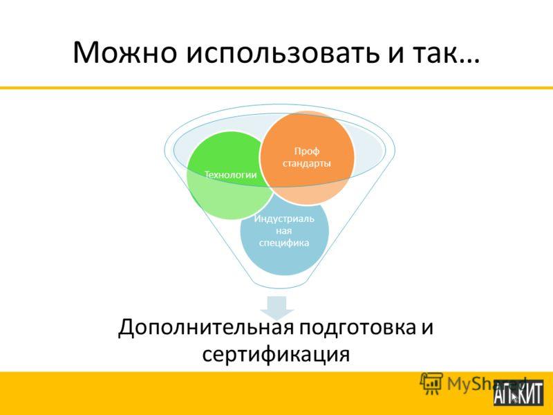 Можно использовать и так… Дополнительная подготовка и сертификация Индустриаль ная специфика Технологии Проф стандарты
