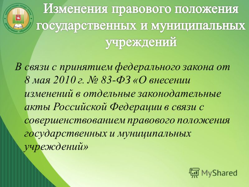 В связи с принятием федерального закона от 8 мая 2010 г. 83-ФЗ «О внесении изменений в отдельные законодательные акты Российской Федерации в связи с совершенствованием правового положения государственных и муниципальных учреждений»