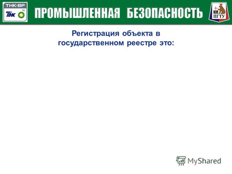 Регистрация объекта в государственном реестре это:
