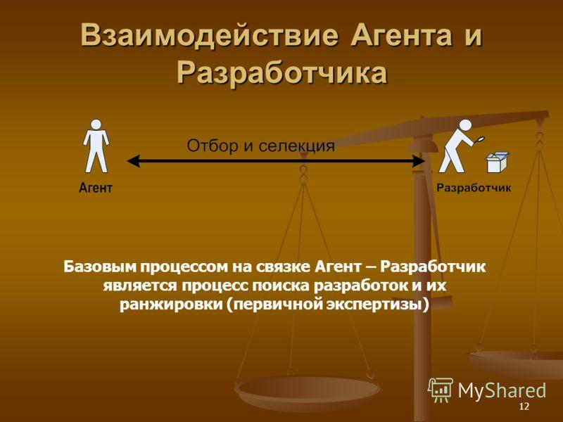 12 Взаимодействие Агента и Разработчика Базовым процессом на связке Агент – Разработчик является процесс поиска разработок и их ранжировки (первичной экспертизы)