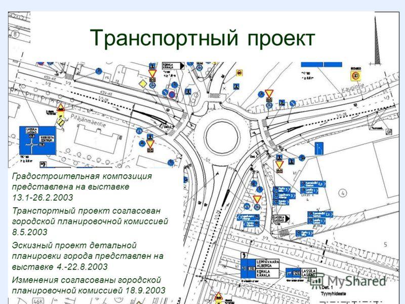 Градостроительная композиция представлена на выставке 13.1-26.2.2003 Транспортный проект согласован городской планировочной комиссией 8.5.2003 Эскизный проект детальной планировки города представлен на выставке 4.-22.8.2003 Изменения согласованы горо