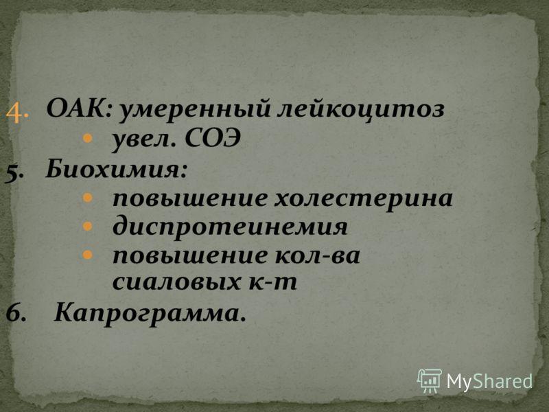 4. ОАК: умеренный лейкоцитоз увел. СОЭ 5. Биохимия: повышение холестерина диспротеинемия повышение кол-ва сиаловых к-т 6. Капрограмма.
