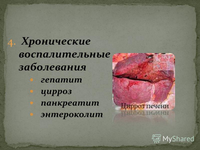 4. Хронические воспалительные заболевания гепатит цирроз панкреатит энтероколит
