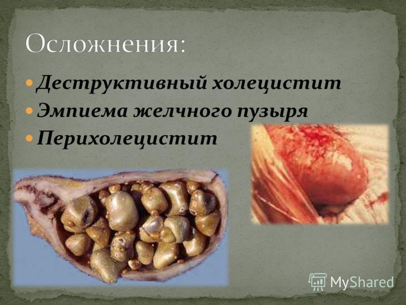 Деструктивный холецистит Эмпиема желчного пузыря Перихолецистит