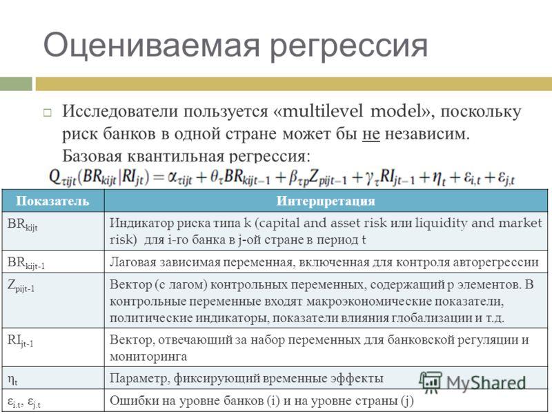Оцениваемая регрессия Исследователи пользуется «multilevel model», поскольку риск банков в одной стране может бы не независим. Базовая квантильная регрессия : ПоказательИнтерпретация BR kijt Индикатор риска типа k (capital and asset risk или liquidit