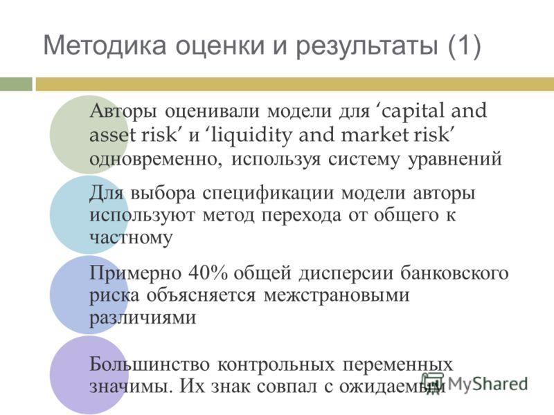 Методика оценки и результаты (1) Авторы оценивали модели для capital and asset risk и liquidity and market risk одновременно, используя систему уравнений Для выбора спецификации модели авторы используют метод перехода от общего к частному Примерно 40