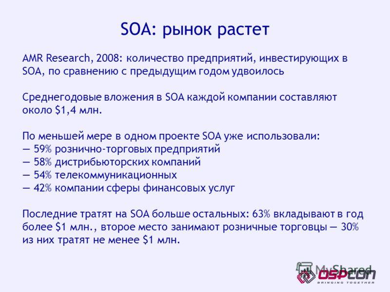 AMR Research, 2008: количество предприятий, инвестирующих в SOA, по сравнению с предыдущим годом удвоилось Среднегодовые вложения в SOA каждой компании составляют около $1,4 млн. По меньшей мере в одном проекте SOA уже использовали: 59% рознично-торг