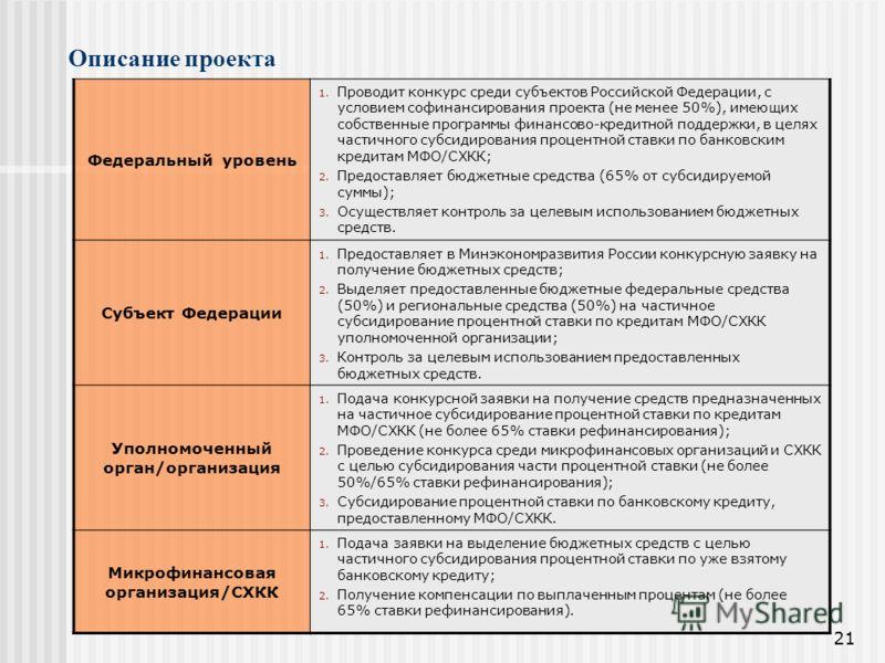 21 Федеральный уровень 1. Проводит конкурс среди субъектов Российской Федерации, с условием софинансирования проекта (не менее 50%), имеющих собственные программы финансово-кредитной поддержки, в целях частичного субсидирования процентной ставки по б