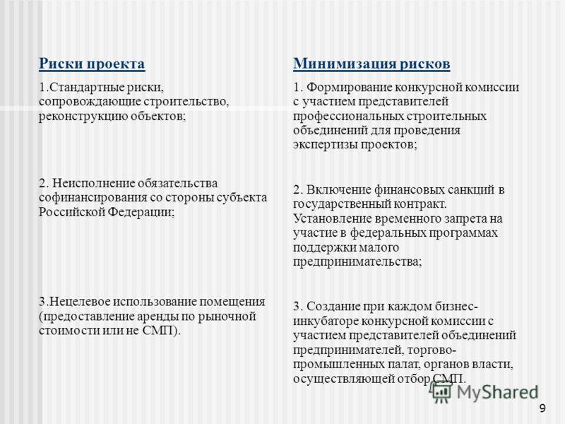 9 Риски проекта 1.Стандартные риски, сопровождающие строительство, реконструкцию объектов; 2. Неисполнение обязательства софинансирования со стороны субъекта Российской Федерации; 3.Нецелевое использование помещения (предоставление аренды по рыночной