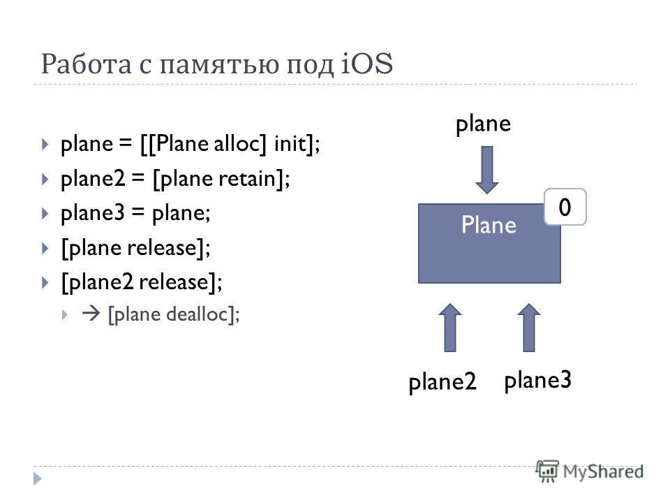 Работа с памятью под iOS plane = [[Plane alloc] init]; plane2 = [plane retain]; plane3 = plane; [plane release]; [plane2 release]; [plane dealloc]; Plane plane plane2 plane3 120
